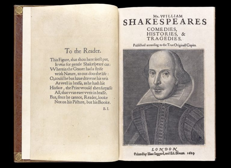 Shakespeare's Folio Front Page